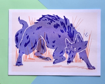 The Wolf Risograph Print A4