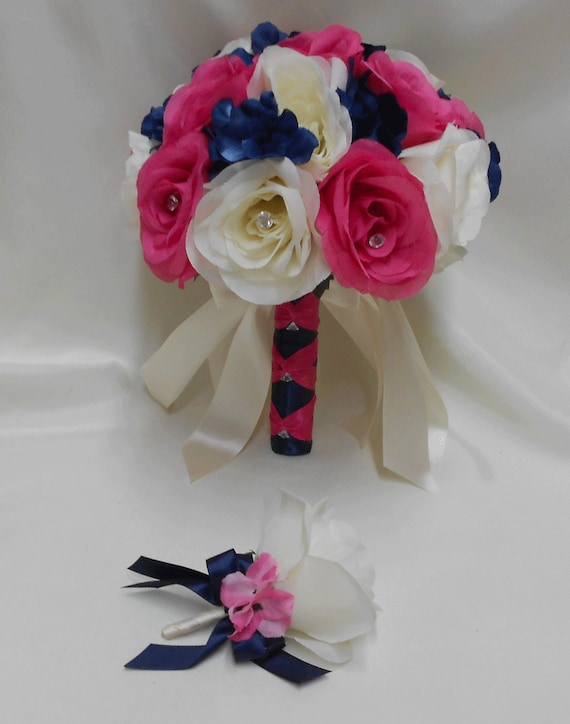 Wedding Silk Flower Bouquet Your Colors 2 pieces Ivory Hot