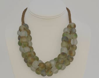 African Recycled Glass, Kumihimo Braided Multi-strand Necklace, Sterling Silver