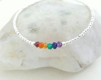 Yoga Gift, Sterling Silver Chakra Bracelet,  Reiki Healing, Dainty Minimalist Jewelry, Stacking Bracelet, Wheel of Time, Indian Dharma Gift