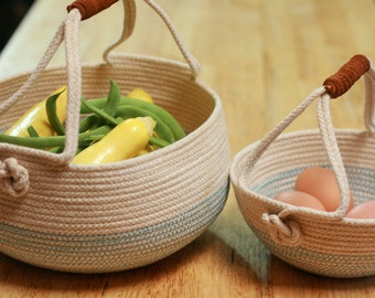 Set of Two Coiled Rope Harvest Basket with Leather Handles