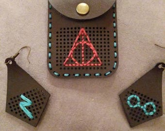 Harry Potter inspired cross stitch jewelery set