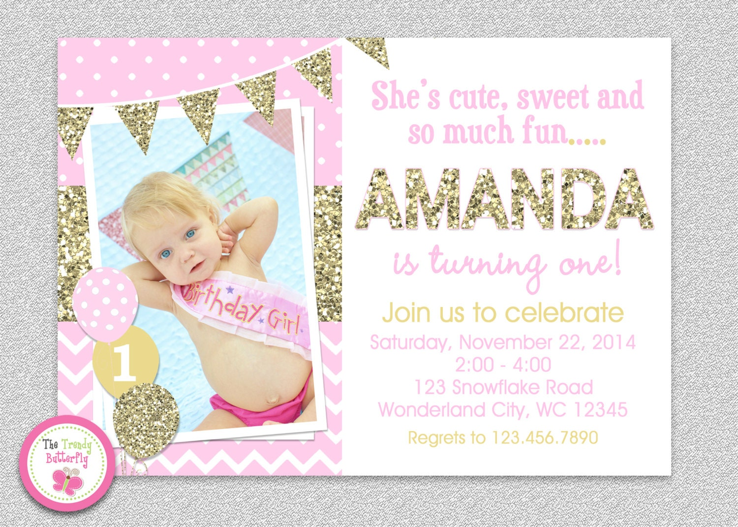 Excellent Pink and Gold invitation 1st Birthday Invitation Girl NA08