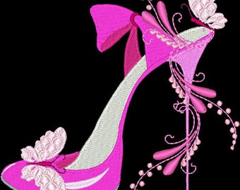 FASHIONISTA SHOES #1- 1 Machine Embroidery Design Instant Download 4x4 5x5 6x6 hoop (AzEB)