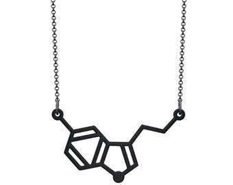 Small Serotonin Molecule Necklace - Black