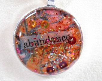 Abundance - Silver-plated OOAK pendant with chain