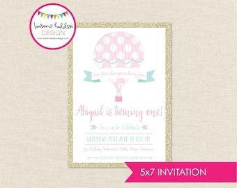 Hot Air Balloon Birthday Invitation, Hot Air Balloon Birthday, First Birthday, Gold Pink Birthday Invitation, Lauren Haddox Designs