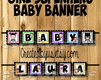Girl Superhero Baby Banner Superhero baby shower banner Marvel decorations Super hero Baby name banner Super baby sign Its a Girl banner