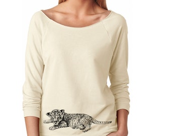 Slouchy Sweatshirt, Lion Sweatshirt, Baby Lion Sweater, Lion Cub, African Animal, Lightweight 3/4 Sleeve Raw Edge Raglan Ringspun Cotton