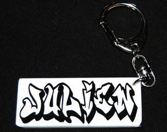Key ring with white graffiti name
