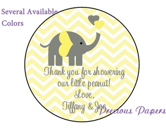 """20 - 2"""" round Personalized PRINTED yellow elephant baby shower sticker yellow and gray chevron baby shower favor stickers"""