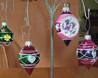 Lot of 4 Glass Christmas Ornaments