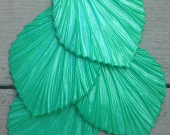 Ready to ship!  Kelly green glittery silicone fins for fabric or silicone mermaid tails (Rowan style, textured on one side)