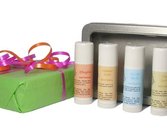 Solid Perfume Gift Set - 100% Natural Aromatherapy Solid Perfumes - Gift box - Gift Set - Essential Oils Set