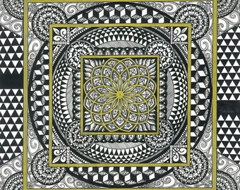 Sacred Geometry - Checkerboard Gold Fractal