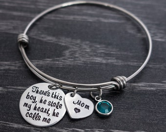 Charm Bracelet / There's this boy who stole my heart bracelet / Wire Bangle Bracelet / Hand Stamped Mommy Jewelry