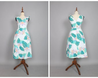 "Annette Dress White ""Margaritaville"" Tropical Hawaiian Print"