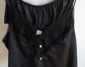 Vintage Camisole and Tap Pants Set Petra Fashion 1X Plus Size Gray Satin Pajamas