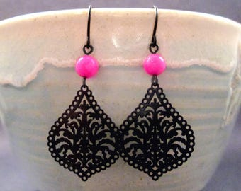 Hot Pink Shell Earrings, Gunmetal Black Filigree Drop Earrings, Silver Dangle Earrings, FREE Shipping U.S.