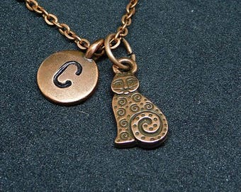 Copper Whimsical Cat with Initial necklace, personalized necklace