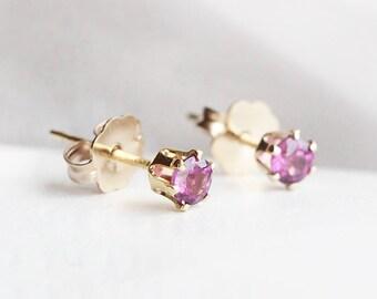 "tiny 14k goldfilled stud earrings - petite everyday jewelry - rhodolite garnet gemstones - ""nova"" earrings by elephantine"