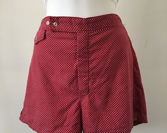 Christian Dior Swim Shorts Board Shorts Size Medium Lined Sport Burgundy White Polka Dot Mid Century Swimwear