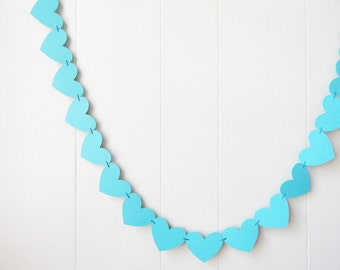 Robin's Egg Heart Garland / Blue Wedding Decoration / Love Bunting / Anniversary Decor / Photo Prop / Adjustable Hand Sewn