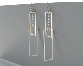 Rectangle Earrings - silver geometric earrings, modern minimalist jewelry for work wear - Interlocking