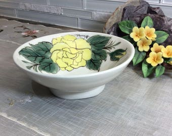 Yellow rose bowl, porcelain bowl, pottery bowl, Wheel thrown, Hand painted