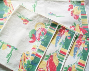 4 Linen Placemats or Napkins, Midcentury, Southwestern Design, 1950s or 1960s