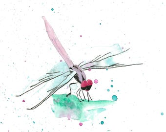 Dragonfly watercolor print. Fine art print