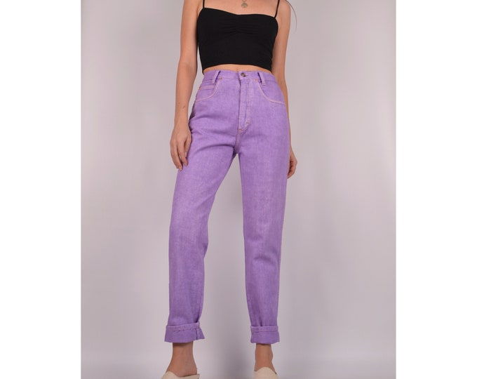 "Vintage Lilac Tapered Jeans / 27""W / High Waist"