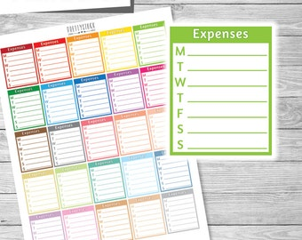 Weekly Expenses Stickers, Expenses Tracker Stickers, Printable Stickers, Printable Expenses Stickers, Expense Tracker Planner Stickers PS181