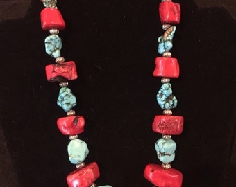 Chunky turquoise & coral necklace