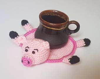 Gift for friend  kitchen dining decor mug decor pig decor gift pink pig crochet coasters cute pig crochet crochet stands coaster for friend