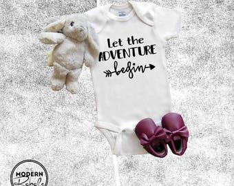 Baby Onesie®, Pregnancy Announcement Onesie®, Let the adventure begin, IVF Onesie®, Baby Shower Gift, Baby Boy, Baby Girl, Newborn Onesie®
