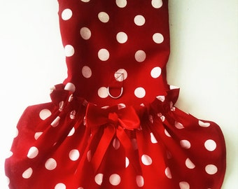 Dog Dress Harness Dress Red Polka Dots and a matching harness vest