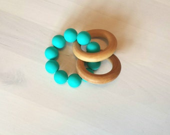 Silicone Teething Toy, Wooden Teething Toy, Teething Rattle, Teething Ring, Wooden Rings, Silicone Beads, TURQUOISE