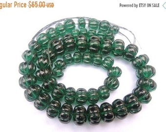25% OFF Summer Sale 6 Inches Strand Beautiful Chrome Green Quartz Hand Carved Melon Beads Size 6 - 10 MM