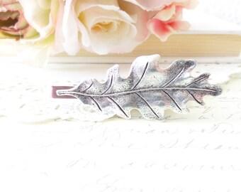 Ox Silver Oak Leaf Tie Bar - Oak Leaf Tie Clip - Mens Tie Clip - Wedding Accessory - Groomsmen Leaf Tie Bar - Woodland Wedding - Autumn Leaf