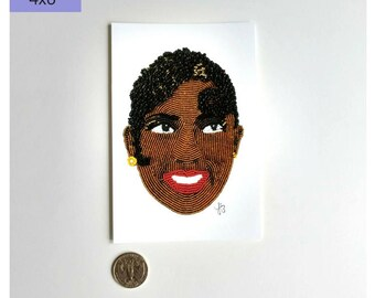 Josephine Baker Art Print, Wall Art Print, Celebrity Art Print, Black Woman Portrait, Beadwork Art Print, Black Art Print, 4x6 Art
