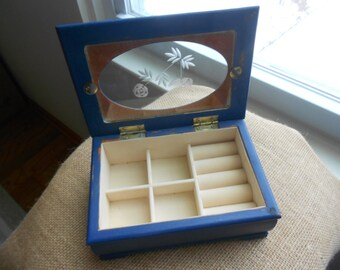 Vintage dark blue wooden upcycled jewelry box shabby chic