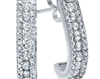 Diamond .90 Carat Hoops 14K White Gold