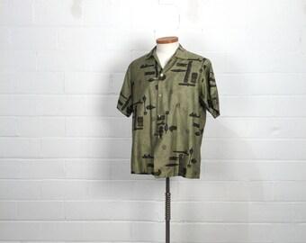 "Vintage 60s Mens Green & Brown Hawaiian Tropicana Shirt,  Mid Century Tiki Print Cotton Fabric, Novelty Print, C48"", Tiki Party Costume Idea"