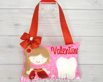 Princess tooth fairy pillow, Personalized girl tooth pillow, Princess tooth pillow, Valentines girl gift, Best friend gift, Babyshower girl