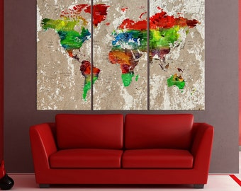 Large wall art canvas, push pin world map wall decor, Push Pin travel map, large world map wall art push pin for large wall No:6S93