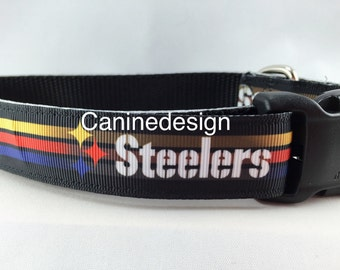 Dog Collar, Steelers,1 inch wide, adjustable, quick release, metal buckle, chain, martingale, hybrid, nylon