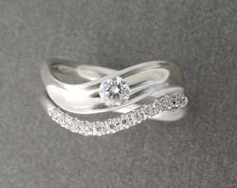 Unique Bridal set, Matching Engagement Ring and Halo Wedding Band, Diamond Ring, Engagement and Wedding Ring Set, Diamond Ring Bridal Set.