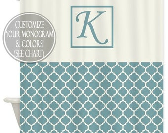 Shower Curtain Art Design  // Family Monogram // Quatrefoil  //Chose your OWN Colors // Custom Bathroom Decor // 12 buttonhole-top