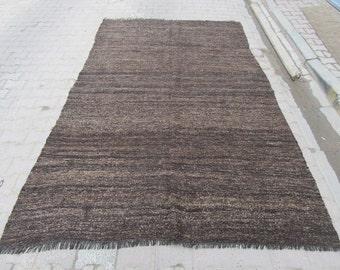 6.3x10 Ft Vintage Dark grey Turkish kilim rug